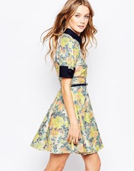 Closet Belted Dress With Collar In Floral Shimmer Print Multi
