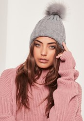 Missguided Faux Fur Pom Pom Beanie Hat Grey