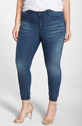 Poetic Justice 'Suzzie' Stretch Knit Denim Crop Jeans Plus Size Dark Blue