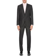 Hugo Boss Regular Fit Two Piece Wool And Silk Blend Suit Charcoal