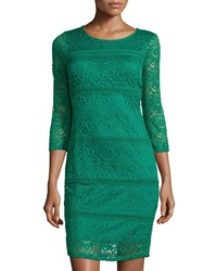 Neiman Marcus 3 4 Sleeve Lace Dress Emerald Green