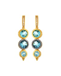 Freida Rothman Two Tone Pave Aqua Crystal Drop Earrings Women's