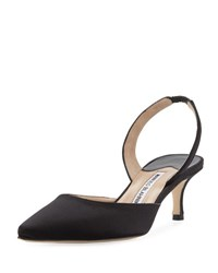 Manolo Blahnik Carolyne Satin Low Heel Slingback Pump Black
