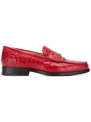 Paul Smith Ps By 'Lennox' Crocodile Effect Loafers Red