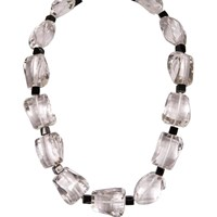 Brass Fusion Rock Crystal And Onyx Necklace