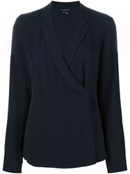 Theory Cross Front Longsleeved Blouse Blue