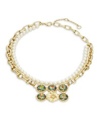 Gerard Yosca Headlight Stone Simulated Pearl Floral Nested Necklace Multi