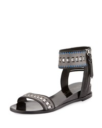 Cynthia Vincent Fayette Leather Ankle Wrap Sandal Black Combo