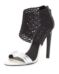 L.A.M.B. Bishop Woven Leather Sandal Black Blac