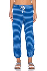 Nation Ltd. Hamptons Stipe Medora Capri Sweatpant Blue