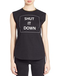 Rachel Zoe Chain Trimmed Cotton Muscle Tee Black White