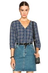 A.P.C. Kentucky Blouse In Blue Checkered And Plaid