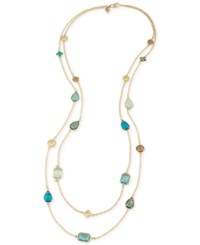 Carolee Gold Tone Multi Crystal Layer Necklace