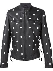 Jeremy Scott Dot Leather Bomber Jacket Black