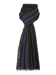 Howick Wool And Cashmere Striped Scarf Blue