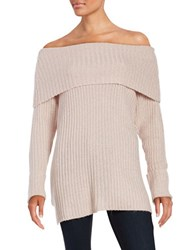 Design Lab Lord And Taylor Off The Shoulder Ribbed Knit Sweater Rose Twist