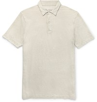 Hartford Slim Fit Knitted Linen Polo Shirt Gray
