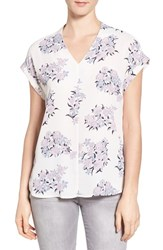 Pleione Women's High Low V Neck Mixed Media Top Ivory Grey Shadow