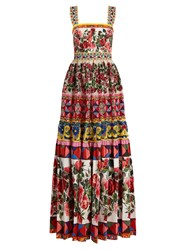 Dolce And Gabbana Carretto Print Lace Sequin Gown Pink Multi