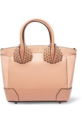 Christian Louboutin Eloise Small Spiked Textured Leather And Nubuck Tote Blush