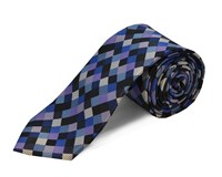 Double Two Polyester Square Tie Blue