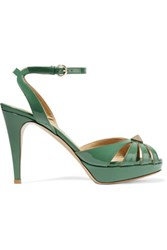 Valentino Studded Patent Leather Sandals Green