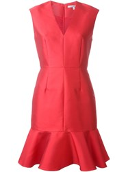 Carven Peplum Hem V Neck Dress Red