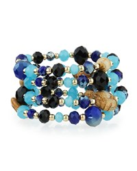 Emily And Ashley Greenbeads By Emily And Ashley Beaded Crystal Wire Wrap Bracelet Blue Black Multi