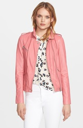 Rebecca Taylor Washed Leather Moto Jacket Guava