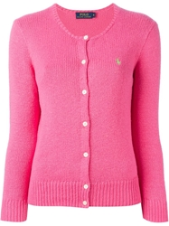 Polo Ralph Lauren Crew Neck Cardigan Pink And Purple