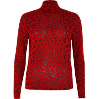 River Island Womens Red Leopard Print Roll Neck Top
