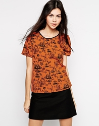 Yumi Woven T Shirt In Tile Print Orange