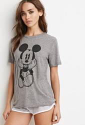 Forever 21 Mickey Mouse Graphic Tee Heather Grey Black