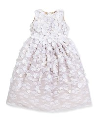 Joan Calabrese Lace And Floral Applique Dress White Spun Gold