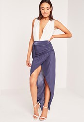 Missguided Slinky Tie Wrap Maxi Skirt Blue Blue