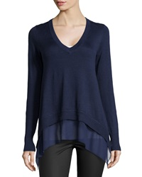 Neiman Marcus V Neck Sheer Bottom Sweater Navy