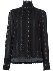 See By Chloe Embroidered Trim Floral Shirt Black