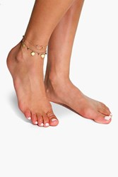 Boohoo Double Layered Heart Pendant Anklet Gold