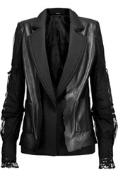 Maison Martin Margiela Twill And Mesh Trimmed Leather Jacket Black