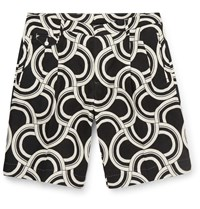 Dolce And Gabbana Printed Linen Shorts Black