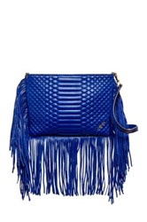 Brian Atwood Landon Leather Fringe Crossbody Blue