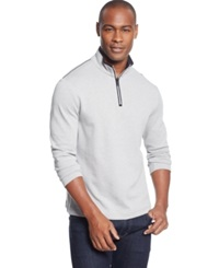 Alfani Black Fitz Feeder Quarter Zip Sweater Only At Macy's Zinc Htr