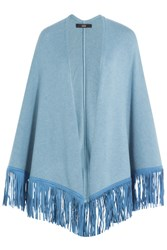 Steffen Schraut Fringed Poncho With Cashmere Blue