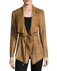 Neiman Marcus Distressed Faux Leather Jacket Medium Brown