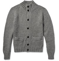 Tom Ford Melange Knitted Cardigan Gray Green