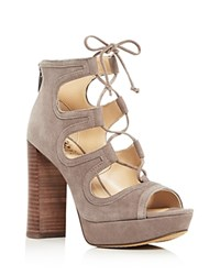 Vince Camuto Kamaye Lace Up High Heel Platform Sandals Brown