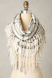 Anthropologie Fringed Infinity Scarf White