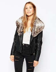 Only Pu Jacket With Faux Fur Collar Black