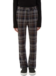 Fendi Checked Wool Straight Leg Pants Grey