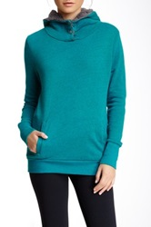 Alo Yoga Pullover Faux Shearling Lined Hoodie Green